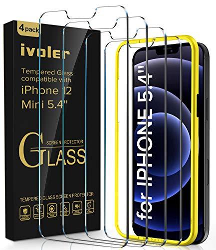 iVoler [4 Pezzi Pellicola Vetro Temperato Compatibile con iPhone 5.4 Pollici 12 Mini, [9H Hardness] [Bubble Free] Anti-Scratch [Ritaglio preciso] con Cornice di Installazione