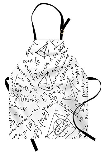Lunarable Geometric Apron Mixed Math Numbers Circle Triangle Angle Genius School Science Sketch Design Unisex Kitchen Bib with Adjustable Neck for Cooking Gardening Adult Size Black
