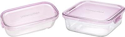 iwaki(イワキ) 耐熱ガラス 保存容器 ピンク 長方形 M 500ml パック&レンジ KC3246N-P & 耐熱ガラス 保存容器 ピンク 角型 M 800ml パック&レンジ KC3247N-P 【セット買い】