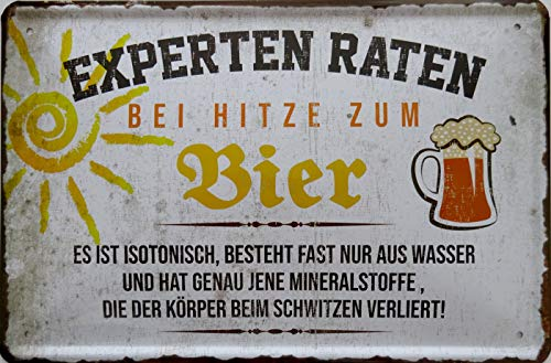 vielesguenstig-2013 Blechschild Schild - Experten raten bei Hitze zu Bier isotonisch Wasser Mineralstoffe