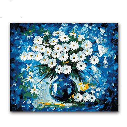 Jayblabo'S Pintura De Digital Blue Daisy Florero Arreglo Floral Diy Pintura Digital Para Colorear Sobre Lienzo Dibujo Con Bolsa-40X50(Sin Marco)