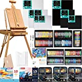 MEEDEN 155 Pcs Deluxe Artist Painting Set with French Easel, Art Painting Brushes Set, Paints Tube Set, Painting Pads, Stretched Canvas, Palette Knives for Acrylic, Oil, Watercolor Painting