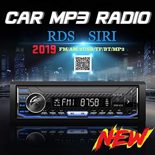 Autoradio met USB en bluetooth, autoradio bluetooth, MP3-speler met SD-aansluiting, handsfree met enkele DIN autokop, app-bediening, snel opladen, volle kleurrijke achtergrond.
