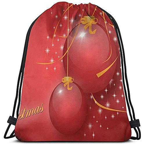 Lemotop Kerst Decoraties Ballonnen Flickering Gepersonaliseerde Trekkoord Rugzak Sport Rugzakken Gym Sackpack Outdoor Reizen