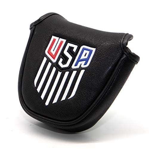 N\C Putter Cover Magnetic - Golf Mallet Putter Headcover -Golf Club Head Covers - Synthetic Leather Well-Made Golf Gears for Golfer (Black+ USA)