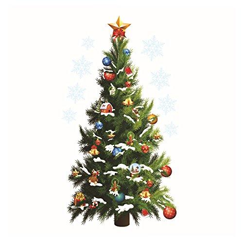 MAYOGO Weihnachten Wandaufkleber Baum Grün Schneeflocke Fenster Glas Aufkleber Glas Vitrine Weihnachtsbaum Wand Stickers 82 * 45CM