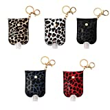 MOODCOME 5 Pieces Leopard Pattern Travel Bottle Keychain Leather 30ml/1.06 oz Hand Sanitizer Holder Protable Refillable Toiletries Containers with Plastic Bottles for Liquid Soap Lotion