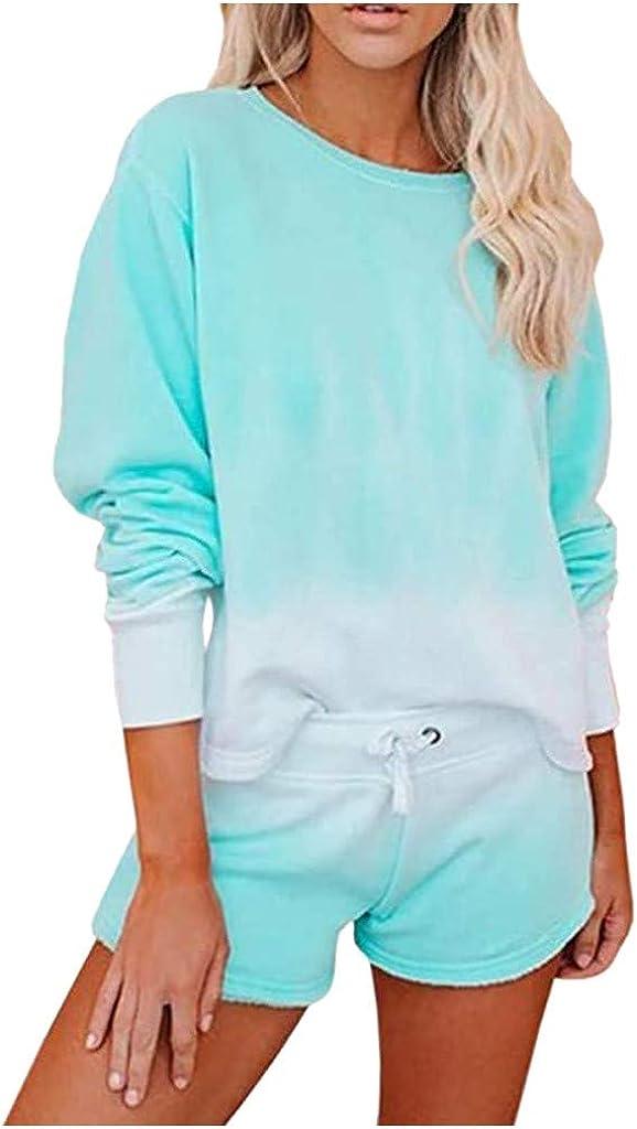 SADUORHAPPY Women's Tie-Dye Pajama-Sets Long-Sleeve Tee Tops and Ruffle Shorts PJ Set Loungewear Nightwear Sleepwear Set