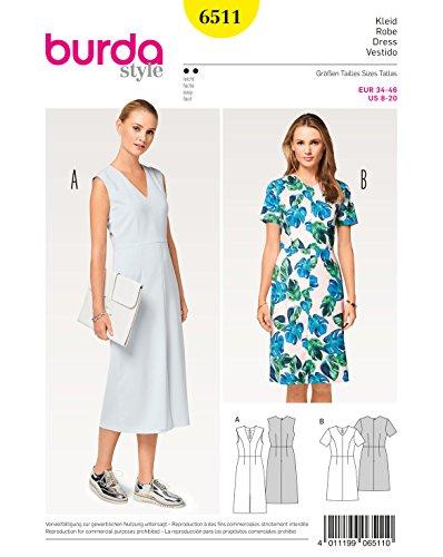 Burda 6511 Schnittmuster Kleid mit V-Ausschnitt und 4-Bahnenrock (Damen, Gr. 34-46) Level 2 leicht