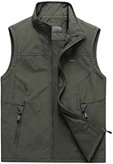 XWF Cotton Lightweight Quilted Sleeveless Gilets Vest Casual Warm Vest Thick Outerwear Winter Men's Sleeveless Jacket Outd...