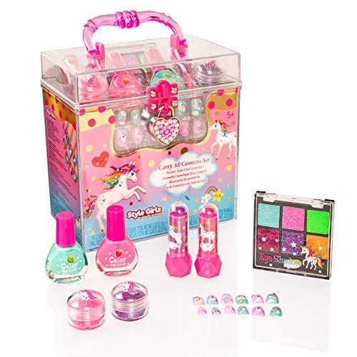 Style Girlz - Einhorn-Kosmetikset - Schminkset für Mädchen - Nagellack - Lidschatten - Lippenbalsam - zum Aufkleben auf die Nägel