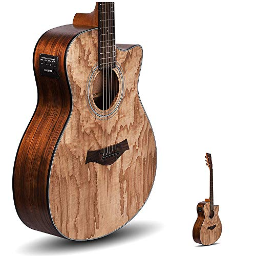 Kadence Guitar Acoustica Series, Electric Acoustic Guitar, Ash Wood with Pickup and Inbuilt tuner (Ash Wood, Electro Acoustic)