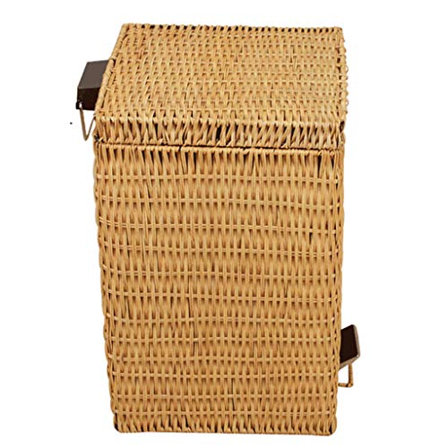 CHUTD Wicker Trash Can With Lid,rattan Wastebasket,square Step Garbage Can,pedal Waste Bin Recycle Bin With Inner Buckets,for Patio Kitchen Bathroom A 12l