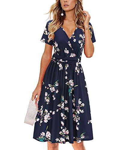 OUGES Women's Summer Short Sleeve V-Neck Floral Short Party Dress with Pockets(Florals,S)