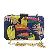 Toucan Bird Crystal Clutch Purses for Women Rhinestone Evening Bags Party Cocktail Handbag and Purse (Small,Blue)