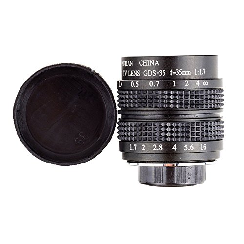 Fujian 35mm f/1.7 CCTV cine Lens for M4/3 / MFT Mount Camera & Adapter Bundle Black Micro 4/3 M4/3 GF3 GF5 E-PL3 E-P3 E-PM1