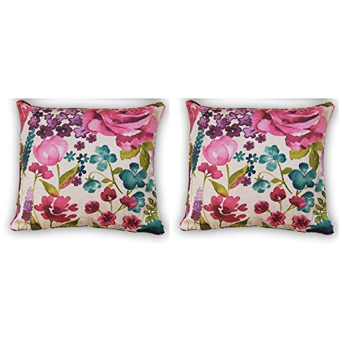 restmor Floral Blush Cushion Covers Pack of 1 to 4 in Pink Purple and Blush Floral Print Misty Meadow Cushion cases pillow cases Piped Trim Square covers 44 cm (2)