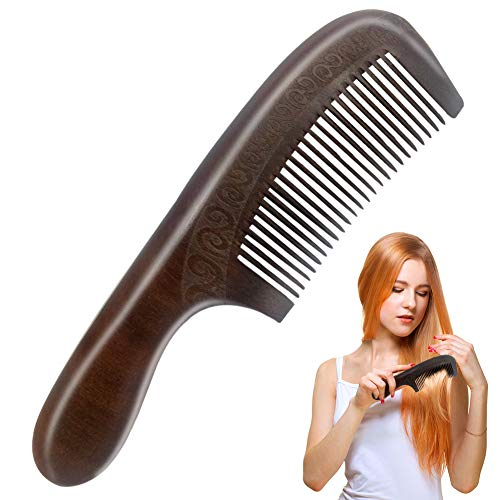Peigne en Bois, peigne à cheveux à gravure double face en bois de pêche naturel avec poignée de massage sain Anti peignes statiques