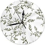 gardenia store - Reloj de Pared con Ramas de Olivo Dibujadas a Mano para Comer y Beber, Reloj de Pared de 9,84 Pulgadas, Reloj Redondo, silencioso, hogar, Cocina, decoración, batería