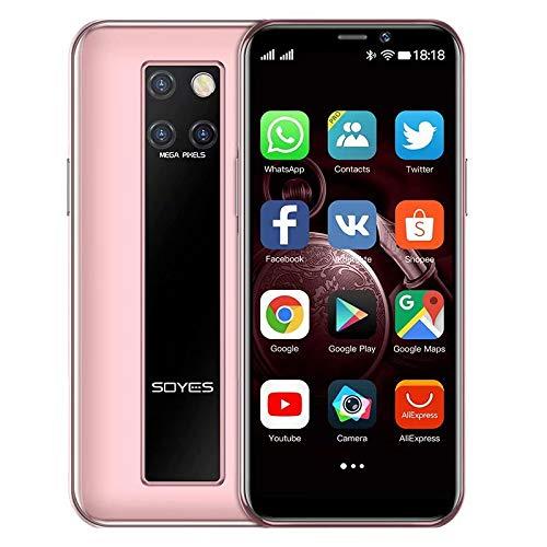 Mini-Smartphone 3,5-Zoll-HD-Display 4G Dual-SIM-Handy Android OS 9.0 Quad-Core-GPS entsperrtes Handy3GB+64GB(Rosa