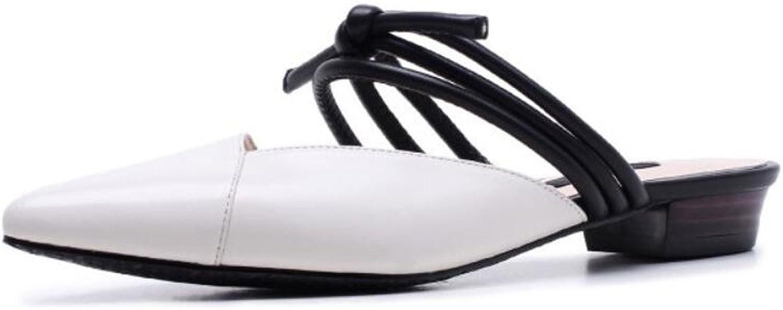DANDANJIE Damenschuhe Leder Frühjahr Sommer Comfort Clogs  Pantoletten Chunky Heel für Casual Grün Weiß (Farbe   Weiß, Größe   39)