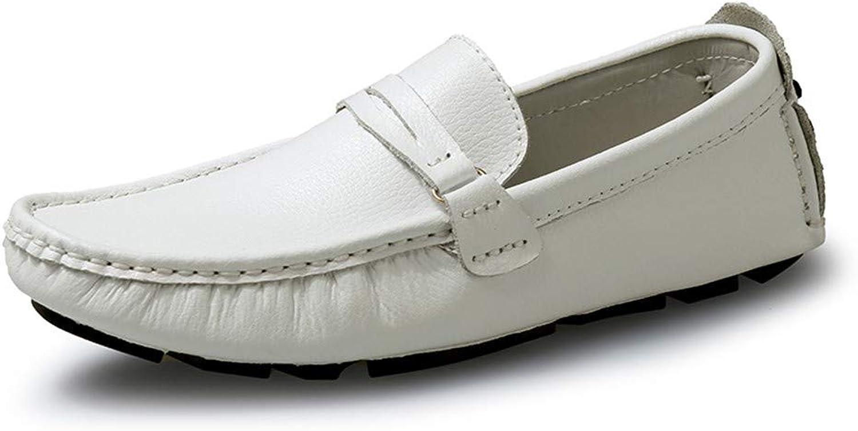 SEHUNN Herren Herren Mokassins Leder Handgefertigt Loafers Freizeitschuhe HalbschuheWeiß-44  billig und hochwertig