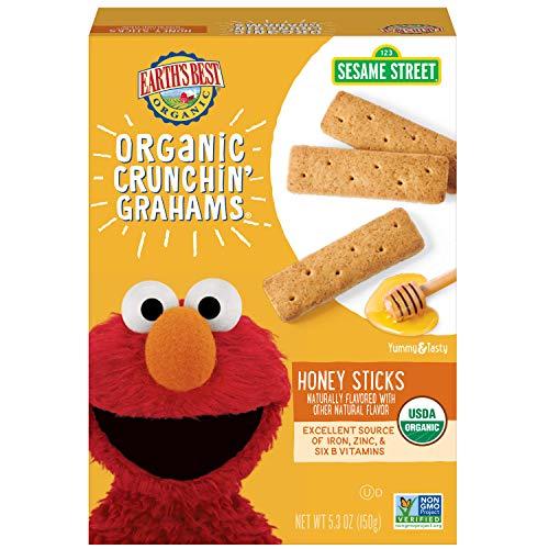 Earth's Best Organic Sesame Street Toddler Crunchin' Grahams, Honey Sticks, 5.3 oz. Box (Pack of 6)