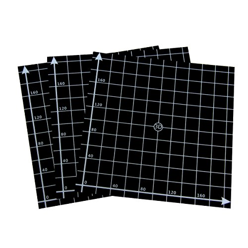 Wisamic 3 Pack 220mmx220mm 3D Printing Build Surface Heat Bed with Adhesive, 10mm Grid, for 3D Printers MK2/MK2A, Reprap, Mendel