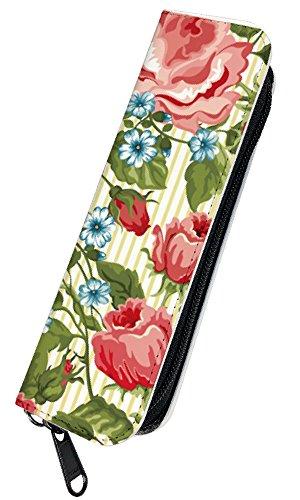 [PLOOMTECH JT-03S] プルームテック 電子タバコ ケース カバー ラウンドファスナー E. 花柄イエローストライプ バラ ローズ 薔薇 フラワー かわいい 赤 レッド