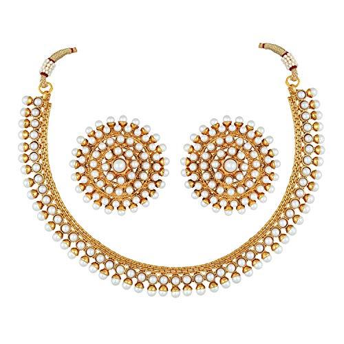 Aheli Bollywood Parure de bijoux tendance indienne en imitation pierre blanche