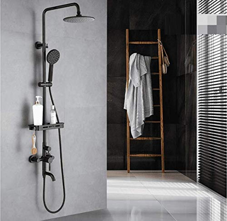 GFF Dusche Schwarz Dusche Duschset Badezimmer 304 Edelstahl Regendusche Boost Mischventil Wandmontage Hei Kalt Bad Dusche Mischbatterie