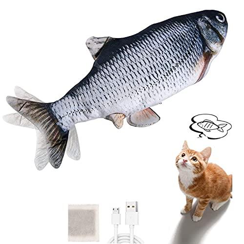 Sinicyder Katzenspielzeug Fisch, USB Katzenspielzeug Elektrisch Fisch Katzen Spielsachen, Zappelnder Fisch mit Katzenminze für Katzen Interaktives Katzenspielzeug zu Spielen, Beißen, Kauen