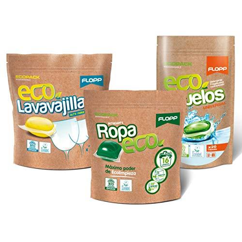 Flopp - Pack Limpieza Ecológica en Cápsulas Hidrosolubles | Detergente Eco, Lavavajillas Eco, Friega Suelos Eco. Tu Pack de Iniciación Limpia sin Ensuciar el Planeta.