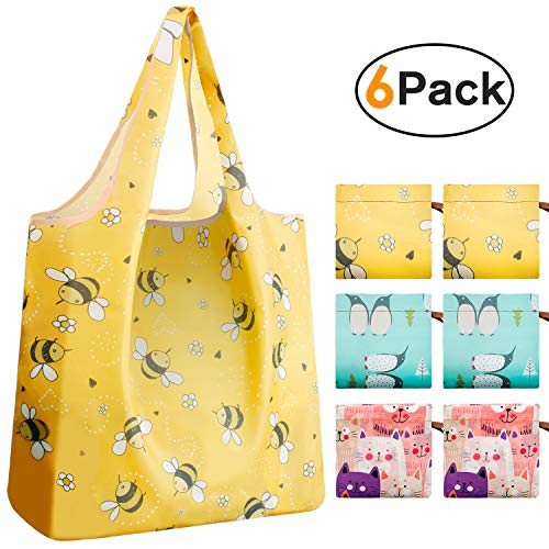 Recyclable Shopping Fabric Bags Waterproof(Mix Animals,Pack of 6)