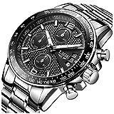 LIGE Relojes Hombre Acero Inoxidable Impermeable Analogicos Cuarzo Relojes Hombre Clásico Deportes Cronógrafo Relojes