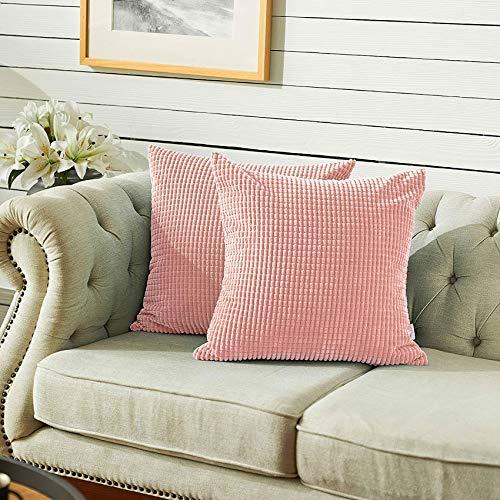 QUANHAO federa decorativa in velluto a coste, fodera per cuscino in velluto a coste, federa federa in pannocchia, divano camera da letto e federa auto (Pink 2pack, 40x40cm)