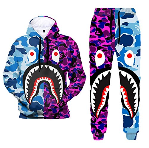 3D Print Camo Shark Hoodies and Pants Fashion Causal Sport Suit for Men Women(3.S)