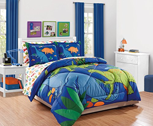 Fancy Collection 7pc Full Comforter Set Dinosaur White Blue Orange Green New
