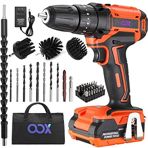 20V Cordless Drill, Cordless Drill Driver Set with Battery and Charger, 18+3 Torque Setting and 3/8'' Keyless Impact Drill, 390 in-lb Torque, 1450RPM Variable Speed for Drilling Wall Bricl Wood Metal