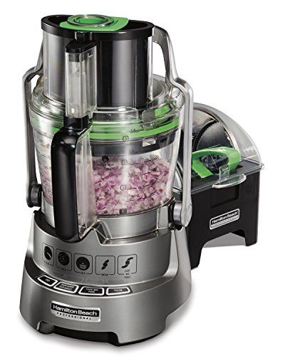 Hamilton Beach Professional Stack & Snap Dicing Food Processor for Slicing, Shredding and Kneading, Extra-Wide Feed Chute, 14 Cups, Stainless Steel