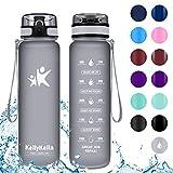 KollyKolla Botella Agua Sin BPA Deportes - 1L, Reutilizables Ecológica Tritan...