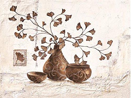 Keilrahmen-Bild - Claudia Ancilotti: Secret Garden 60 x 80 cm Leinwandbild modernes Stillleben Landhaus-Stil braun beige