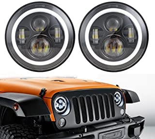 """ANR Jeep 7"""" LED Black Headlight Set With White Halo Angel Eye Ring DRL & Amber Turn Signal Lights fits Jeep Wrangler JK LJ CJ Hummer REPLACES ANY 7"""