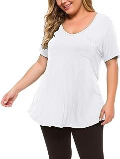 LARACE Womens Plus Size Tunic Top Short Sleeve V-Neck T Shirt with Pocket(2X, White)