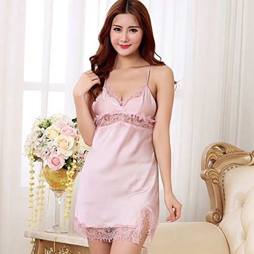 LOU Panties Damen Nachtwäsche Kleid Sling Pyjamas Nachahmung Seide Frauen Sexy Satin Dessous Nachthemd Slip (Color : D, Größe : XL)