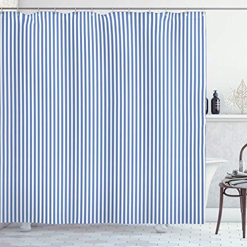JoneAJ Nadelstreifen Duschvorhang nautischen Konzept Seemann Stil blau weiß mühelosminimalistisch gestreiften Duschvorhang 71x71inch Polyester wasserdichtes Gewebe zwölf Kunststoffhaken
