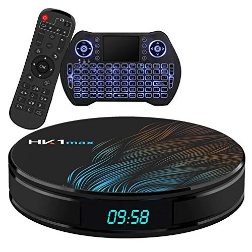 Android TV Box 10.0 4GB 64GB Smart TV Box Streaming Media Player RK3318 USB 3.0 Ultra HD 1080P 4K HDR WiFi 2.4GHz 5.8GHz Bluetooth 4.1 Set Top Box with Mini Wireless Backlit Keyboard HK1 MAX 4G 64G