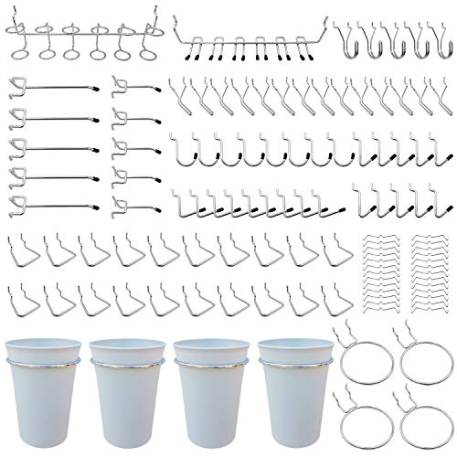 Pegboard Hooks, Will Not Fall Out, for Garage, Workbench, Kitchen, 130 Piece