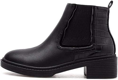 HBDLH Chaussures pour Femmes Au Milieu des Talons des Bottes des Talons Haut 5 Cm épaisse Chelsea Les Bottes Autour De Chefs Les Fonds Plats Les étudiants Mahomme Dingxue