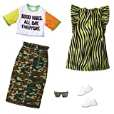 Barbie Fashions 2-Pack Clothing Set, 2 Outfits Doll Include Camo Pencil Skirt, Color-Blocked T-Shirt with Graphic, Lime Green Animal-Print Dress & 2 Accessories, for Kids 3 to 8 Years Old